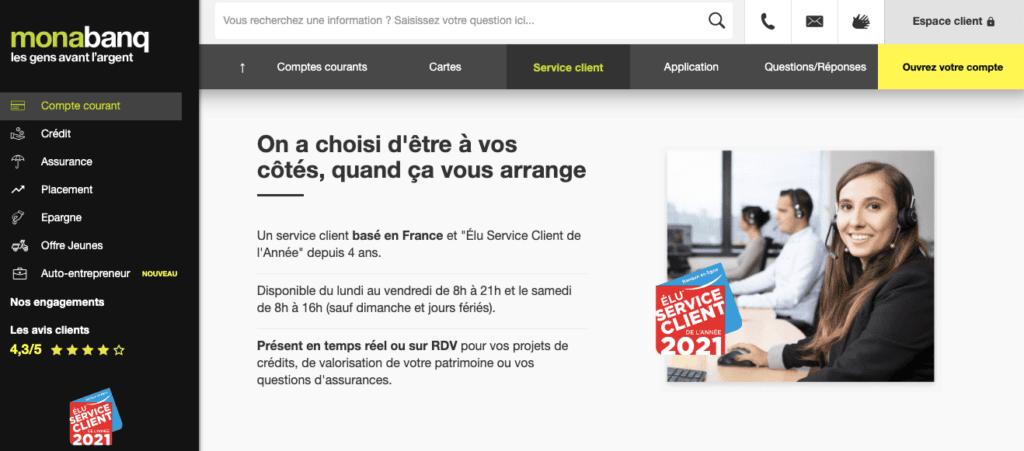 Avis Monabanq : service client