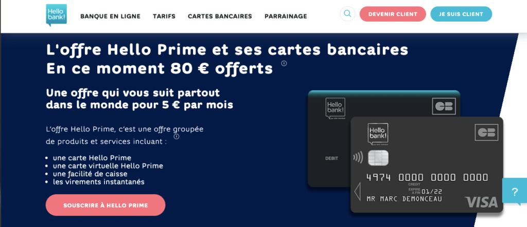 Avis Hello Bank : Hello Prime
