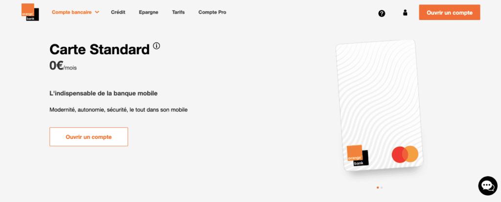 Avis Orange Bank : carte standard