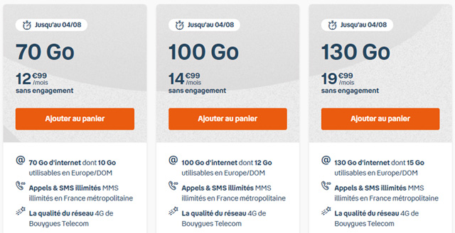 Forfait mobile 100go b&you