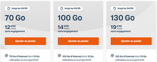 Forfait mobile 130go b&you