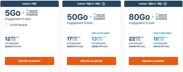 Forfait Bouygues 4G 5go